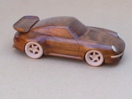 Wooden Porsche 911 sculptures